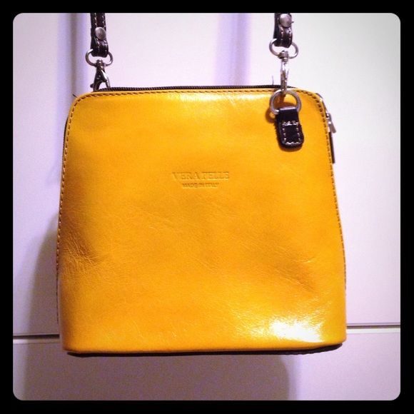 Vera Pelle cross body Cute leather bag. Yellow with brown bottom and strap. Purchased in Italy and never used. Vera pelle Bags Crossbody Bags