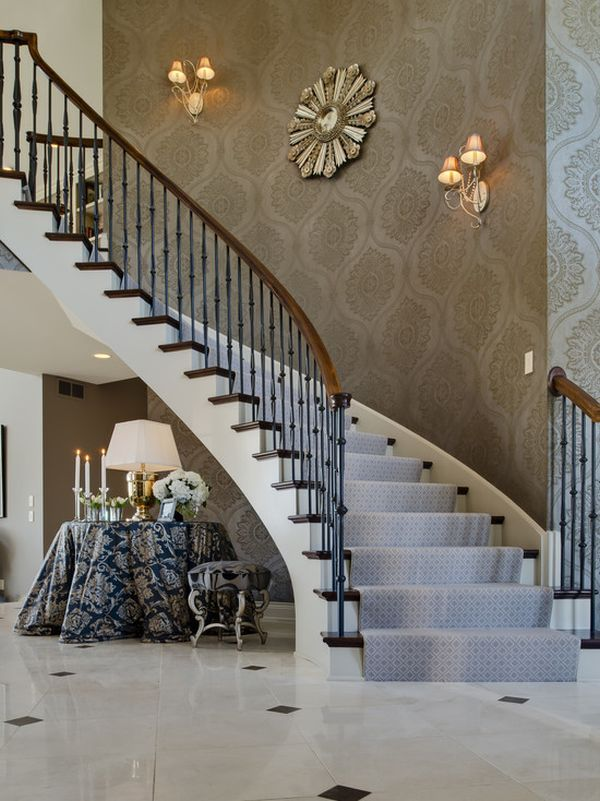 73 best images about wall paper design on pinterest for Decorating a staircase wall