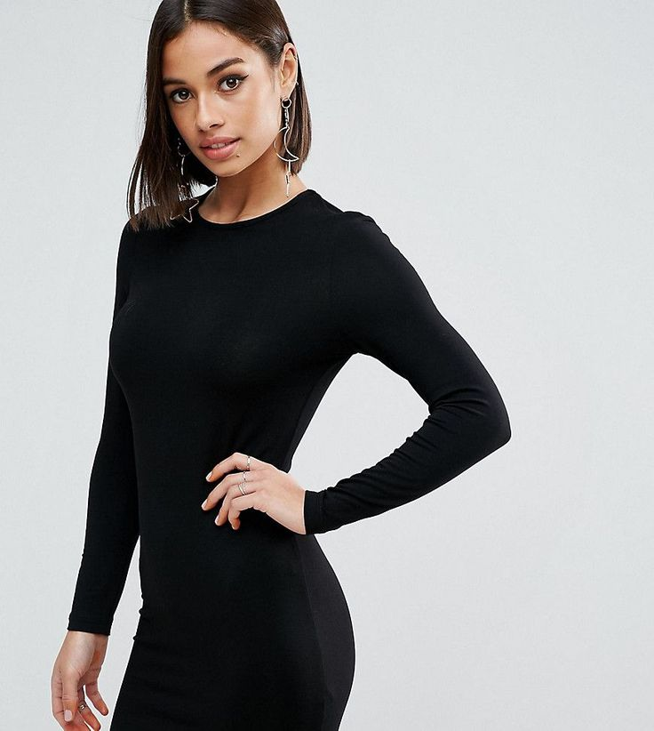ASOS PETITE Mini Long Sleeve Bodycon Dress - Black