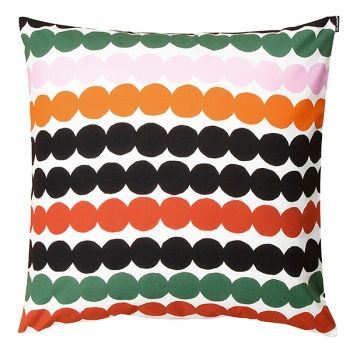 Marimekko's Räsymatto cushion cover, red/green/black