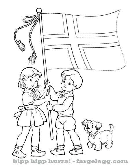 17 mai barnetoget med Norsk flagg fargeleggingstegninger