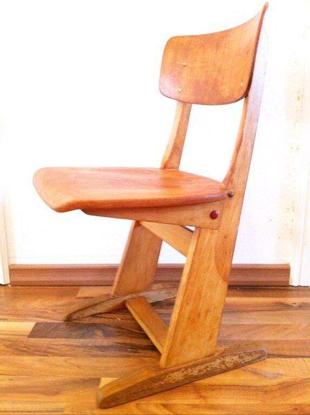 Vintage Schulstuhl aus Holz // Wooden school chair by AugenschmausVintage via DaWanda.com