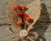 Items similar to Rustic boutonniere, orange flowers and burlap leaves on Etsy