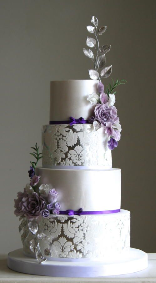 Silver And Purple Metallic Wedding Cake