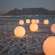 Lights on the beach. Table Mountain, Cape Town, SA
