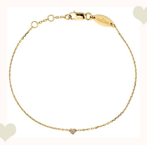 Un petit coeur tout pavé de diamants sur une chaine en or jaune  by redline