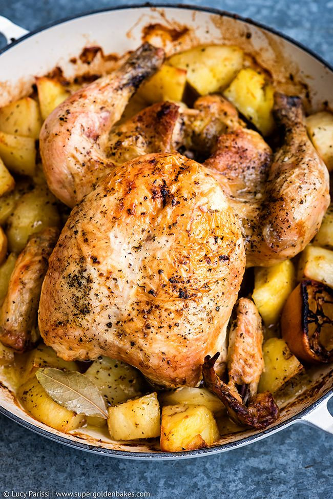 Oven-roasted chicken with potatoes  ( kotopoulo sto fourno me patates ) is a classic Greek recipe that I have grown up on – it graced ou...
