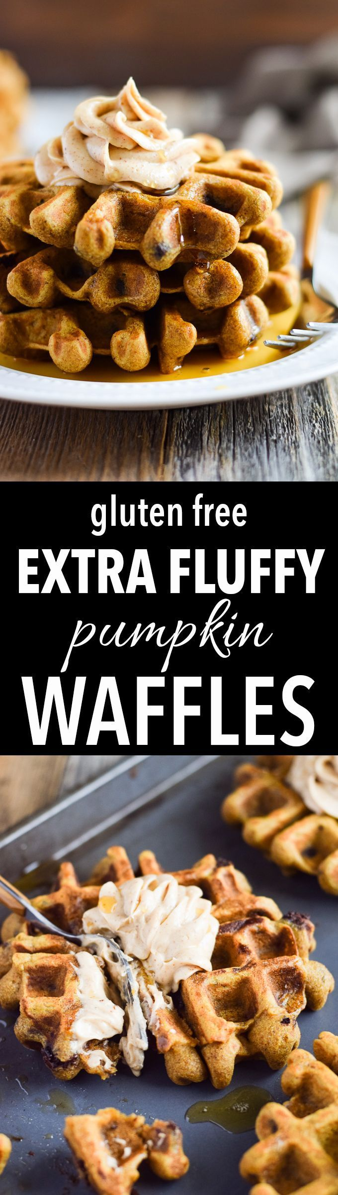 Light & fluffy gluten free pumpkin waffles! Made with cassava flour, honey and chocolate chips. Dairy free, nut free and paleo.