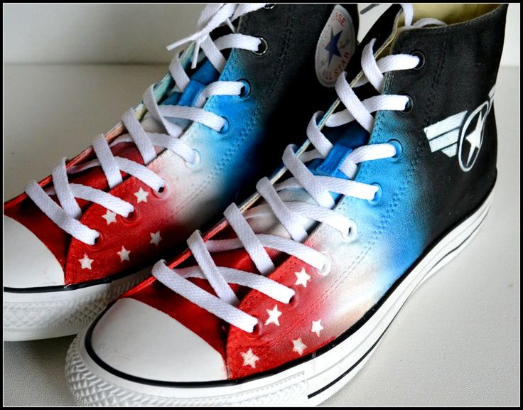 Mens Captain America Shoes, Custom Made Superhero Shoes, Painted Converse, Mens Converse, Patriot, Hero, American by PricklyPaw on Etsy