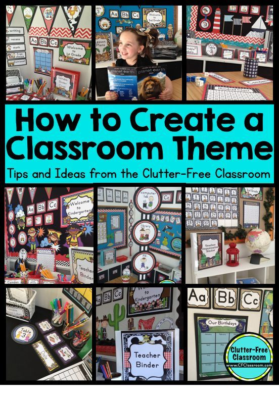 Clutter-Free Classroom: How to Create a Classroom Theme - If you are looking to create a cohesive classroom theme for your preschool, Kindergarten, 1st, 2nd, 3rd, 4th, 5th, or 6th grade classroom - THIS is the post for you! Get some great ideas, find tips for decorating on a budget, and see the 30+ themes this creator has available! You'll be glad you clicked through for all of your back to school decorating needs!