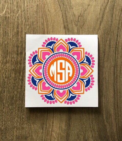 Three Color Mandala Monogram Sticker Decal / Yeti Monogram Decorative Mandala Sticker / Car Decal / Patterned Monogram Laptop Decal