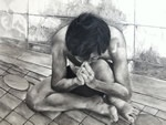 Help Me, painting by Surajit Chatterjee, Charcoal and pencil on Papers, 24 X 36 inches