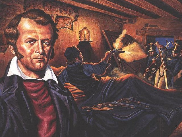 """James Bowie, """"We will rather die in the ditches than give it up to the enemy."""" painting by Gary Zaboly"""