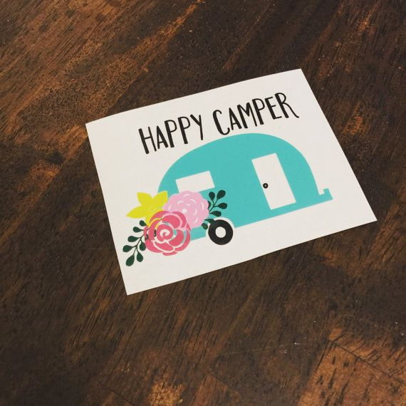Yeti decal Happy Camper yeti decal for women by GraceKinleyDesigns