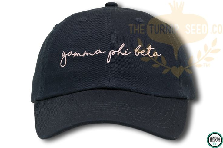 Gamma Phi Beta Handwriting Script Sorority Baseball Cap - Custom Color Hat and Embroidery by TheTurnipSeed on Etsy https://www.etsy.com/listing/481615078/gamma-phi-beta-handwriting-script