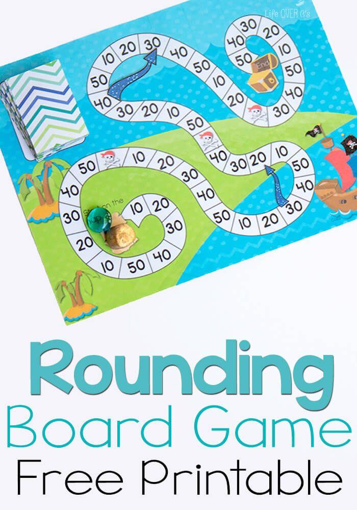 ARREDONDAMENTO-  Este jogo de tabuleiro livre de impressão pirata para arredondamento para os dez mais próximo é uma ótima maneira de praticar o arredondamento!  Muito divertido, as crianças vão adorar brincar!