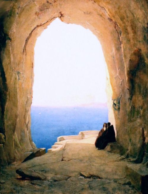 Grotto in the Gulf of Naples, Carl Blechen - #Art #LoveArt https://wp.me/p6qjkV-3OA