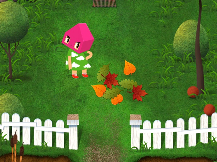 Nova sorting leaves in the garden in Toca House by Toca Boca. http://itunes.apple.com/us/app/toca-house/id495680460?mt=8 #apps #kids #children #ipad #iphone #tocaboca #tocahouse
