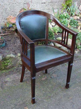 Piękny unikatowy stary fotel secesyjny - skóra . Czacz - image 6