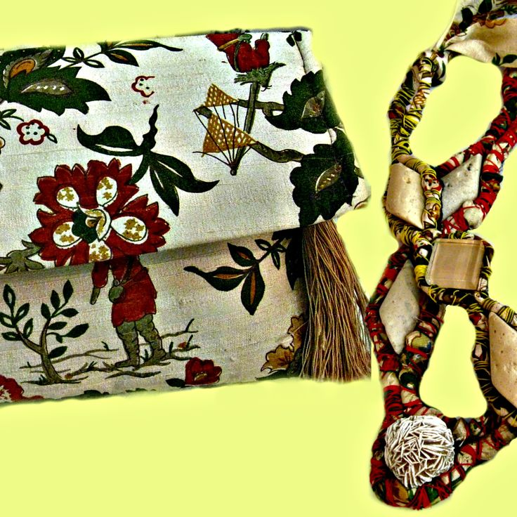 vintage silk necklaces and clutch