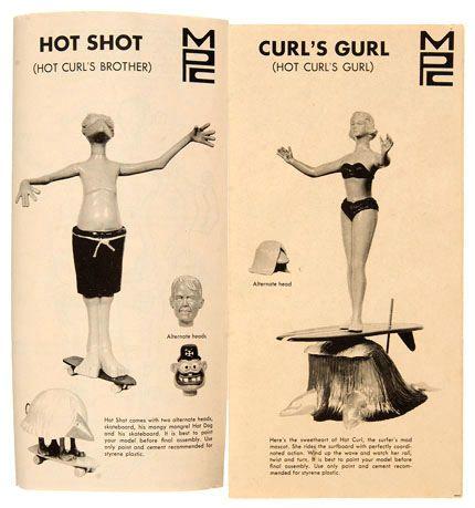 "Hake's - ""HOT SHOT AND CURL'S GURL"" SKATEBOARD/SURF THEME MODEL KITS."
