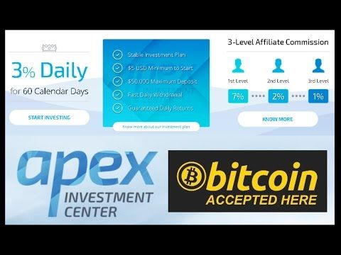 APEX INVESTMENT CENTER - 3% daily for 60 days. Passive Income HYIP.