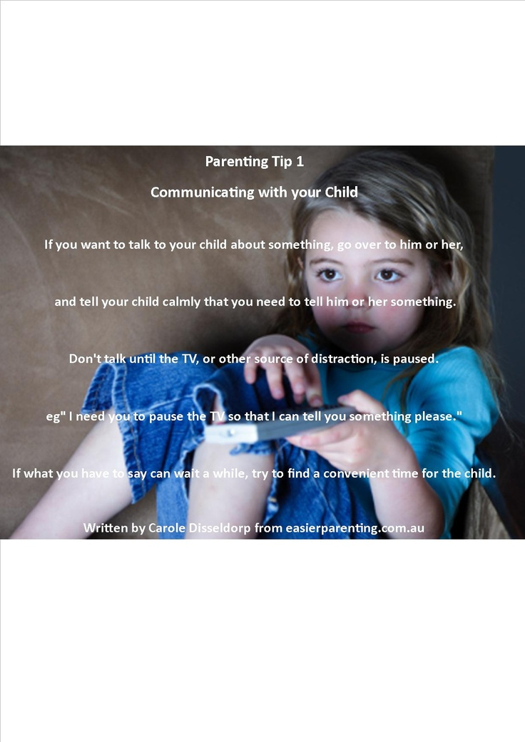 Parenting Tip 1  Communicating with your Child