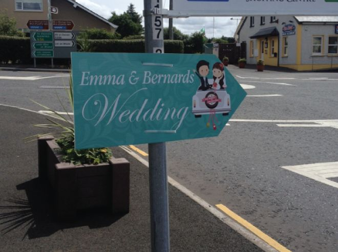 Wedding directional signs only €15, any text & any design you want. Order from bigdaysigns.com