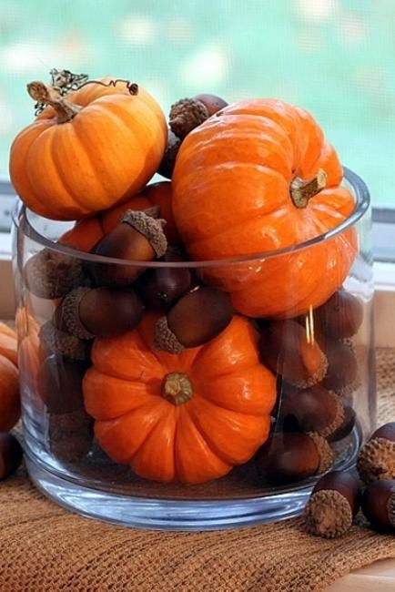 FaLL TaBLe CeNTeRPiECe w/ ACoRNS & MiNi PuMPKiNS