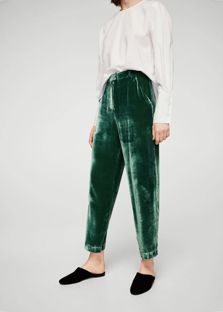 Velvet pleated trousers | MANGO did i already pin this idk