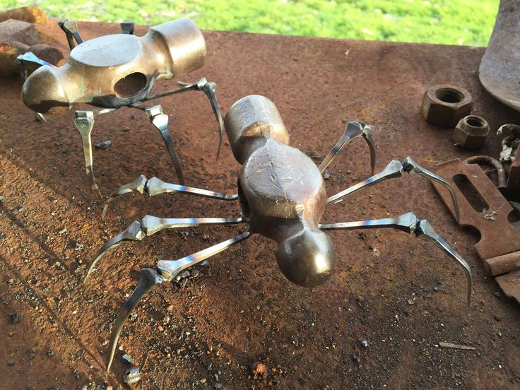 Metal sculpture spiders.