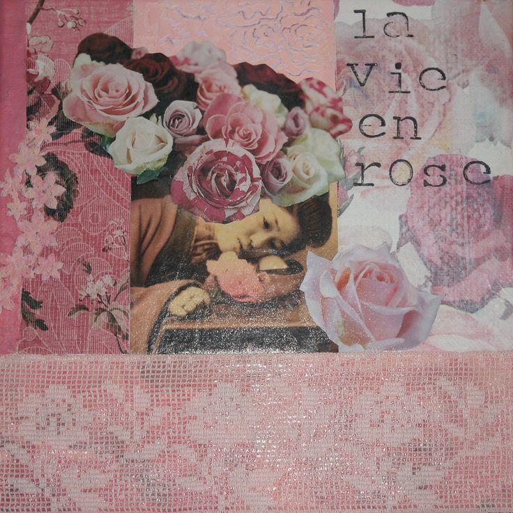 la vie en rose by Ingrid Peulen mixed media/collage