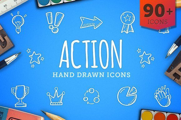 cool Action Hand Drawn Icons CreativeWork247 - Fonts, Graphics, Themes, Tem...