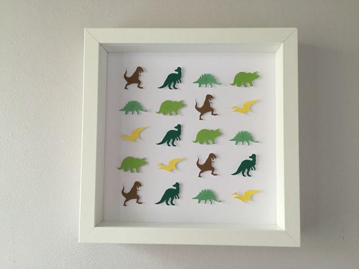 "Image of Dinosaurs - Medium (9"" sq.) - Green, Brown and Yellow"