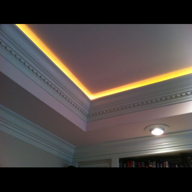 """Rope Lighting Tucked Behind The Moulding In A Trey Ceiling. Awesome For """"movie Lighting"""", Or"""