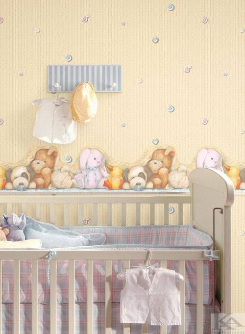 Sleep wallpaper with teddy bear. Tapet pentru camera bebelusului.