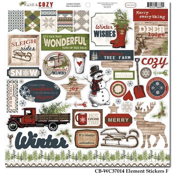 Carta Bella, Warm and Cozy element stickers. I love that little truck.