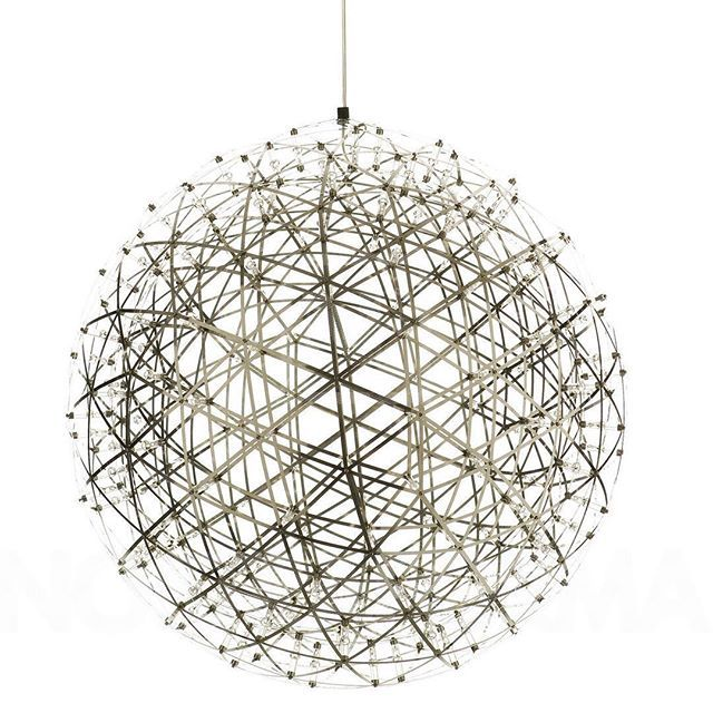 #Dutch mathematics professor #RaimondPuts created the #RaimondLED suspension #light in #2007. He brought his love of #geometry and precision into the #design of the globe.  The triangular #geometric structure is made from polished stainless steel that conducts electricity.  An LED light has been placed at each intersection of the structure, with the largest version having 252 LEDs.  When seen against a dark background, the light appears made of hundreds of tiny #stars, giving you your very…