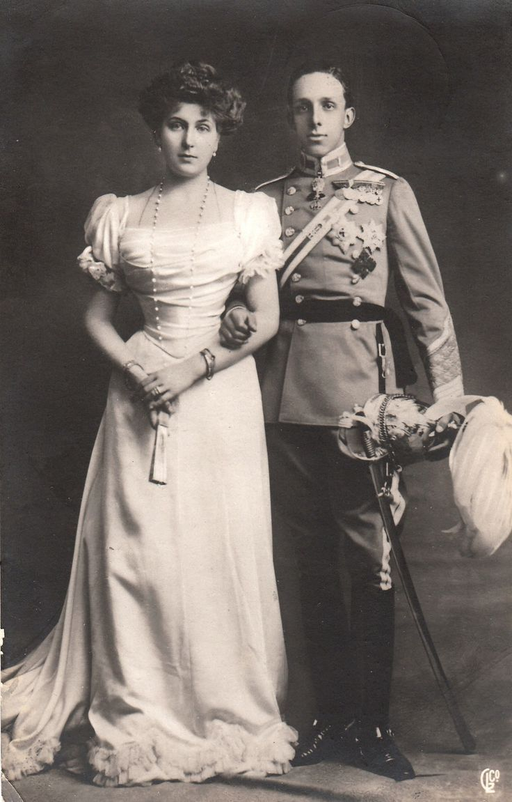 King Alfonso XIII of Spain and his bride to be Princess Victoria Eugenie of Battenberg, 1906