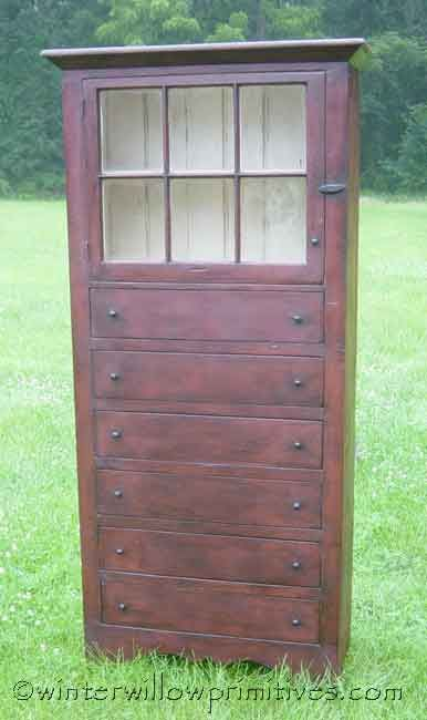 6 Drawer Primitive Cabinet, by Winter Willow Primitives