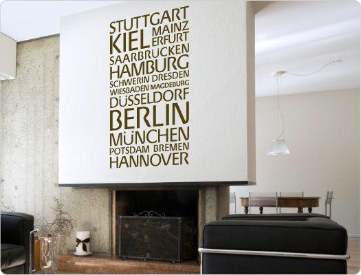 Wandtattoo Städtenamen Deutschland (Nr.3)