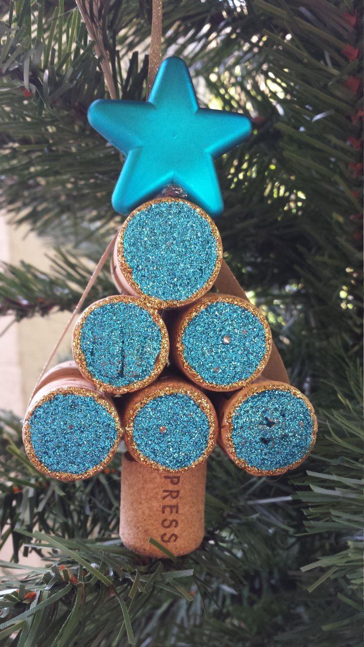 Christmas Ornament, Ornament, Wine Cork Christmas Tree Ornament, Blue Cork Ornament by KraftsbyKristin on Etsy