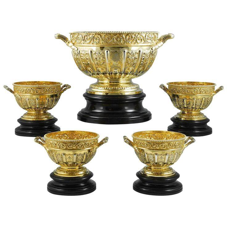 Suite of Five Victorian Silver-Gilt Punch Bowls. J.B. Carrington London & Birmingham, 1893