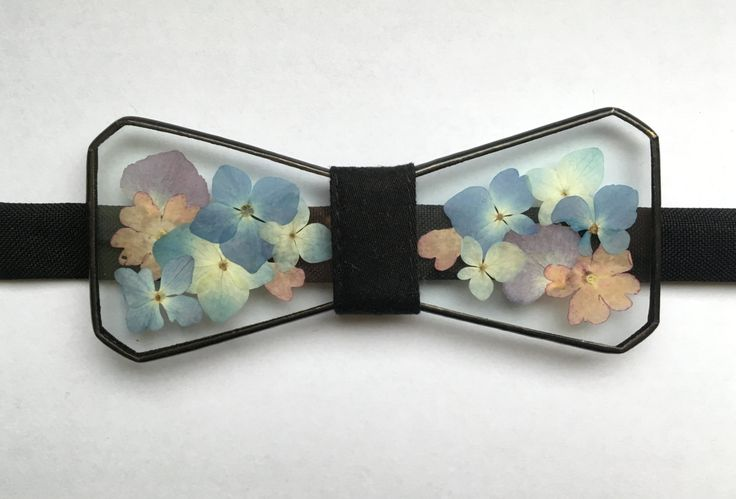 Glass bow tie Hydrangea bow tie Herbarium accessories Unisex bowtie Wedding accessories Floral Unique gift Floral art Bow ties by terezavarga on Etsy