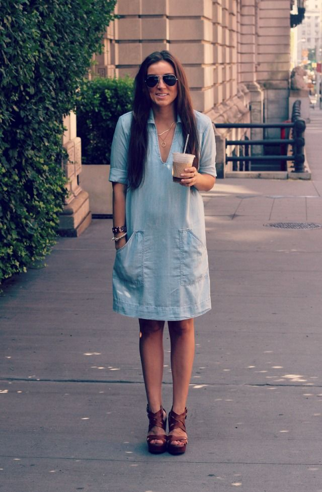shut up, i love that shirt on you: {from ESD} chambray dress of dreams...: Chambray Shirt Dresses, Loose Dresses, Dress Shirts, Spring Summer Fashion, Style, Clothing, Chambray Shirts, Fashion Bloggers