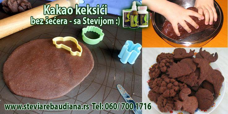 Kakao keksići Sastojci: - 35 grama pšeničnog brašna, - 4 kašike kakao praha, - 1/2 praška za pecivo, - 1/2 kašičica soli (malo manje), - 3/4 kašičice Stevija praha, - 1,5 dl ulja (od oka), - otprilike 1 šolja vode, - 2 kašičice gustina, - 2 kašičice sojinog brašna (ili 1 jaje za one koji nisu vegani).  https://www.facebook.com/photo.php?fbid=546189178812188&set=a.416264685137972.1073741825.173662406064869&type=3&theater