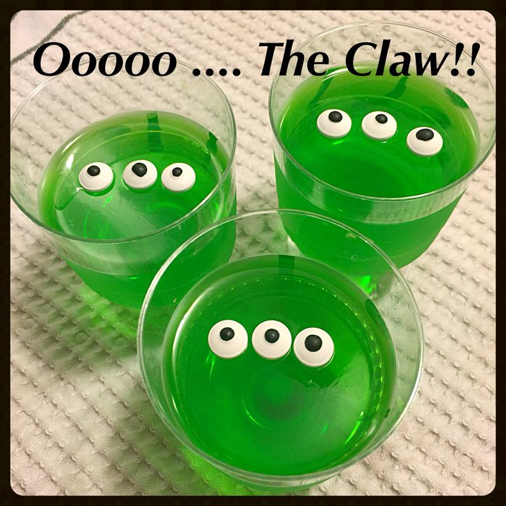 Toy Story birthday party; green jello cups with candy eyeballs