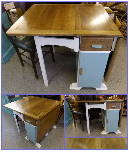 painted and waxed drop leaf table £265 .....  The RGF Restoration Team is the South East's leading furniture up-cycling company. Our skills include upholstery, restoration, and paint effect including shabby chic, farmhouse distress and French provincial.