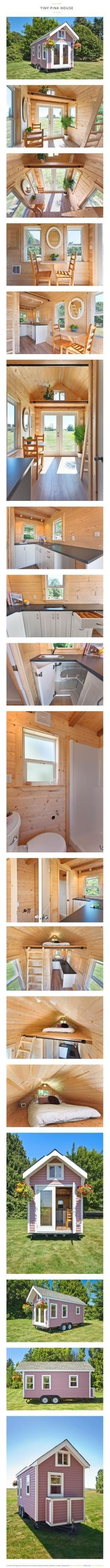 #tumbleweed #tinyhouses #tinyhome #tinyhouseplans TINY PINK HOUSE via TINY HOUSE SWOON... tinyhouseswoon.com/tiny-pink-house — A lofted 160 square feet tiny house on wheels in Delta, British Columbia, Canada.... Designed by Tiny Living Homes.... twitter.com/... More info. Tiny Pink House - tinyhousel by chrystal #tinyhouseinfo #tinyhomeonwheels