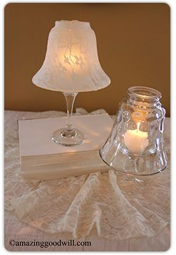 #DIY Candle Centerpieces - get started early on #wedding season decor. Looks for light fixtures from #Goodwill to complete this craft!